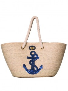 BLUE ANCHOR NAUTICAL ROPE HANDMADE PALM BAG