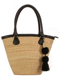 BLACK BUCKET HANDMADE PALM BAG GENUINE LEATHER HANDLES AND BORDER WITH INNER LINING POCKET AND SLIDE ZIPPER