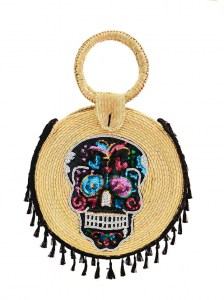 BLACK SKULL ROUND HANDMADE PALM BAG