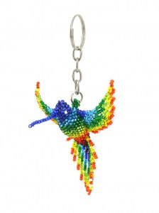 Handcrafted-Chaquira-Beads-Key-Chain-Hummingbird-Front