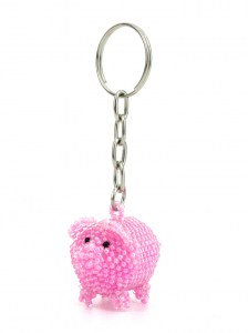 Handcrafted-Chaquira-Beads-Key-Chain-Small-Pig-Front