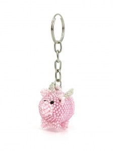 Handcrafted-Chaquira-Beads-Key-Chain-Small-Pig-with-Wings-Front