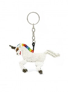 Handcrafted-Chaquira-Beads-Key-Chain-Unicorn-Front