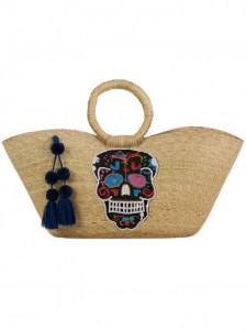BLACK SKULL HANDMADE PALM BAG