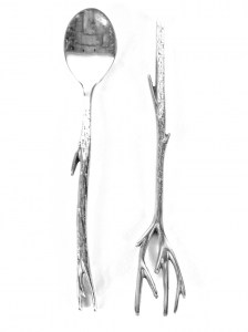 TREE BRANCH SPOONS SET PEWTER